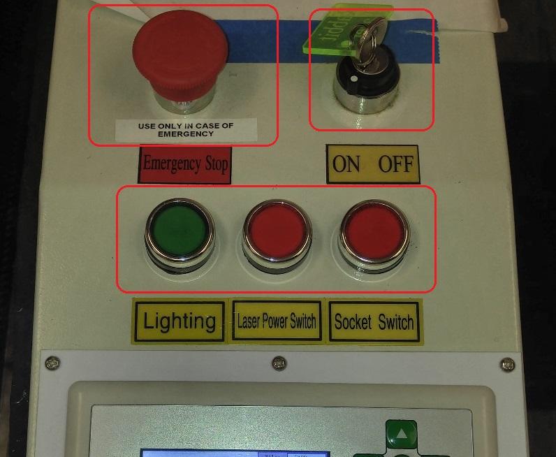Main laser cutter power buttons